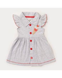 Vestido para Bebê Menina Gola Polo Cinza e Botões Vermelho
