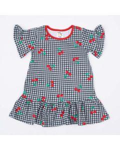 Vestido Infantil Curto com Manga Larga e Babado Preto Cereja