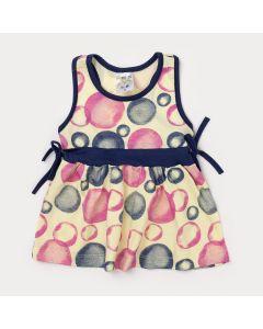 Vestido de Bebê Amarelo e Faixa Azul Marinho com Estampa de Bolinhas