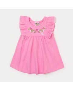 Vestido de Malha Bebê Rosa com Estampa de Flor