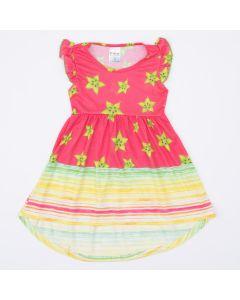Vestido Infantil Rosa Frutinhas com Parte de Trás Alongada