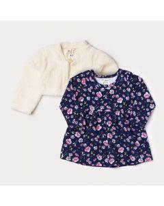 Conjunto Bebê Menina Vestido Manga Longa Marinho Floral e Bolero em Pelo