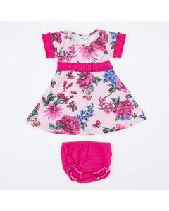 Vestido Rosa Flores com Calcinha Pink para Bebê