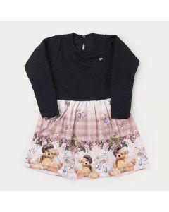 Vestido de Inverno Preto Infantil Feminino Ursinho