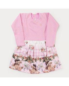 Vestido de Inverno Infantil Feminino Rosa Ursinho