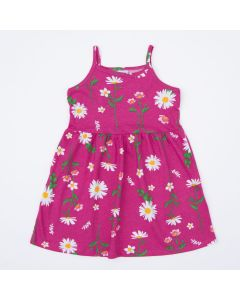 Vestido Infantil de Alcinha Rosa Florzinhas
