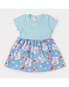 Vestido Infantil Azul com Estampa de Cachorrinho