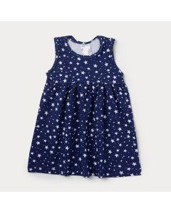 Vestido Infantil Azul Marinho com Estampa de Estrela