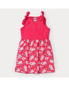 Vestido Pink Infantil Feminino Estampado com Lacinho