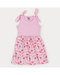 Vestido Rosa Infantil Feminino Estampado com Lacinho