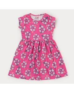 Vestido Infantil Feminino Rosa Floral