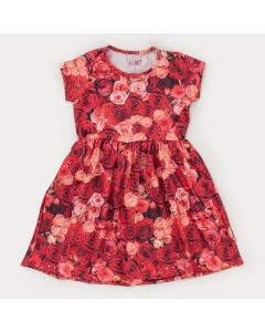 Vestido Infantil Feminino Rosas Vermelhas