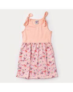 Vestido Salmão Infantil Feminino Estampado com Lacinho