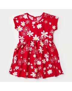 Vestido Infantil Vermelho com Estampa Floral