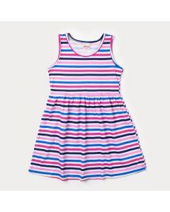 Vestido Branco Infantil Listrado com Rosa e Azul
