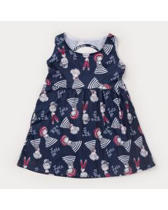 Vestido de Verão Infantil Azul Marinho Boneca