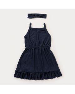 Vestido de Alcinha Marinho para Menina e Faixa de Cabelo