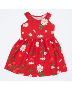 Vestido Vermelho Infantil Florzinhas