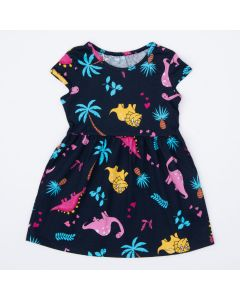 Vestido Marinho Infantil Dinossauro