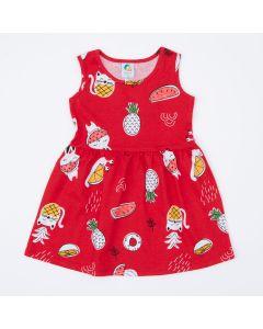 Vestido Vermelho Frutinhas Infantil