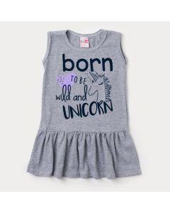 Vestido Infantil Mescla com Estampa de Unicórnio