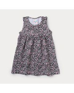 Vestido Infantil Mescla com Estampa de Onça