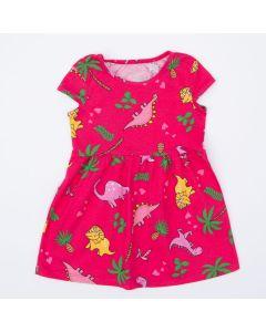 Vestido Pink Dinossauro Infantil
