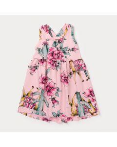 Vestido de Malha Infantil Rosa Florido com Laço Pink nas Costas