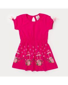 Vestido Infantil de Malha Pink com Estampa de Coração em Glitter