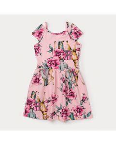 Vestido Feminino Infantil Rosa Florido com Alcinha