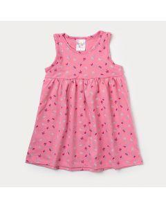 Vestido Feminino Infantil Rosa Florido