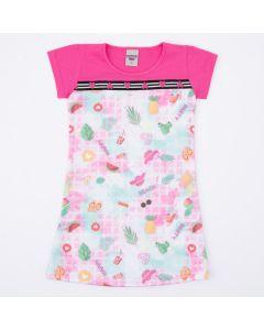Vestido Rosa Frutinhas Infantil Feminino