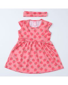 Vestido de Verão Moranguinho Rosa com Faixa de Cabelo