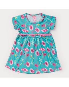 Vestido Verde de Verão com Cinto e Estampa de Flamingo Infantil