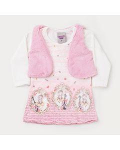 Vestido para Bebê Estampado com Colete de Pelo Rosa
