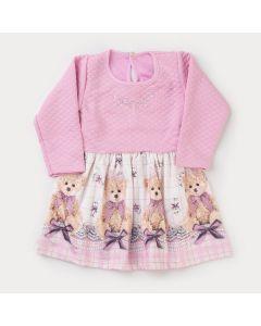 Vestido de Inverno Infantil Rosa com Estampa de Ursinho