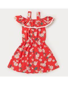 Vestido Infantil Feminino Ciganinha Laranja com Estampa Floral