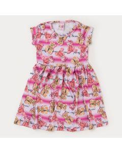 Vestido de Verão Infantil Feminino Lilás Ursinho
