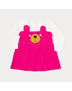 Vestido de Inverno Bebê Menina Marfim com Pink de Ursinho