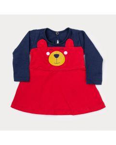 Vestido de Inverno Bebê Menina Marinho com Vermelho de Ursinho