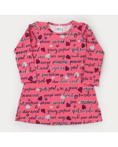 Vestido Infantil de Inverno em Cotton Pink Estampado