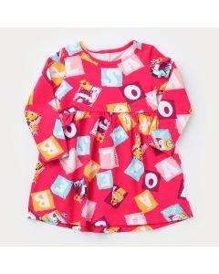 Vestido Manga Longa para Bebê Menina Rosa Letrinhas