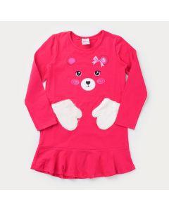 Vestido Pink Ursinho com Bolso Peluciado