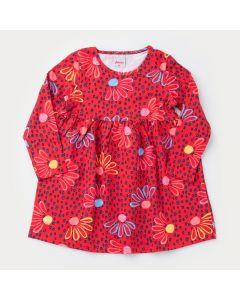 Vestido Manga Longa para Menina Vermelho Florzinhas