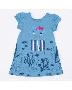 Vestido Azul para Bebê Polvinho