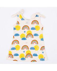 Vestido Marfim para Bebê Menina Arco-Íris