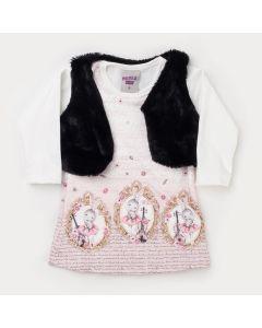 Vestido Estampado para Bebê com Colete de Pelo Preto