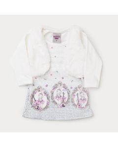 Vestido em Suplex Estampado para Bebê com Colete de Pelo Marfim
