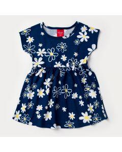 Vestido para Bebê Menina Marinho Floral