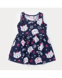 Vestido Regata Marinho Bichinhos para Bebê Menina